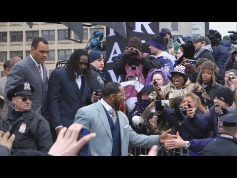 """Thousands gather as Baltimore hosts a """"Super Bowl Sendoff Rally"""" Monday at the Baltimore Inner Harbor Amphitheater. Lewis, coach John Harbaugh and safety Ed Reed were among the Ravens who spoke..."""
