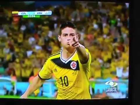 Amazing goal James Rodriguez Colombia Golazo Pica-barra Colombia 2 - 0 Uruguay