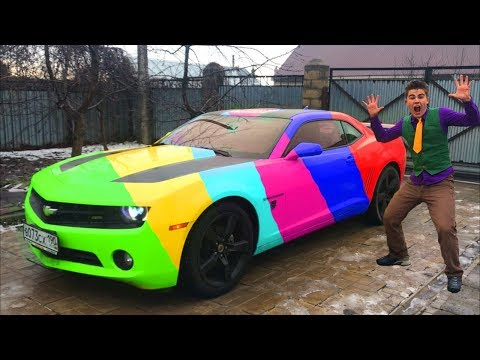 Learn Colors with Mr. Joe on Colored Chevy Camaro w/ Motorcyclist in Funny Race for Kids