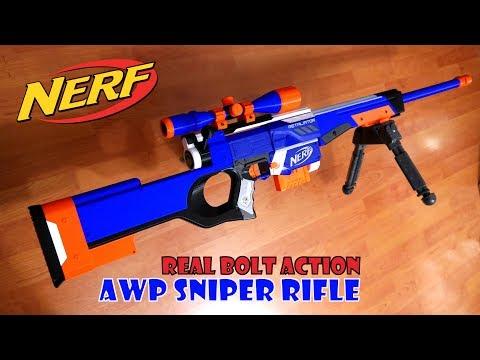 Nerf AWP Sniper Rifle   Bolt Action Retaliator Mod Kit