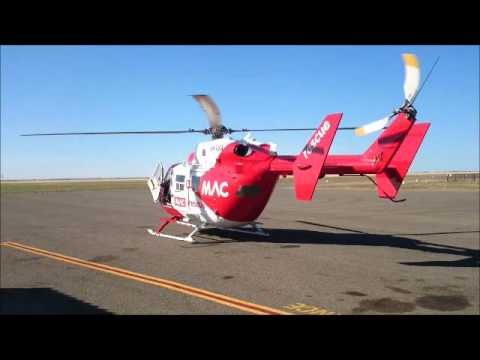 Rescue 52 helicopter taking off after refuelling from Port Pirie airport.