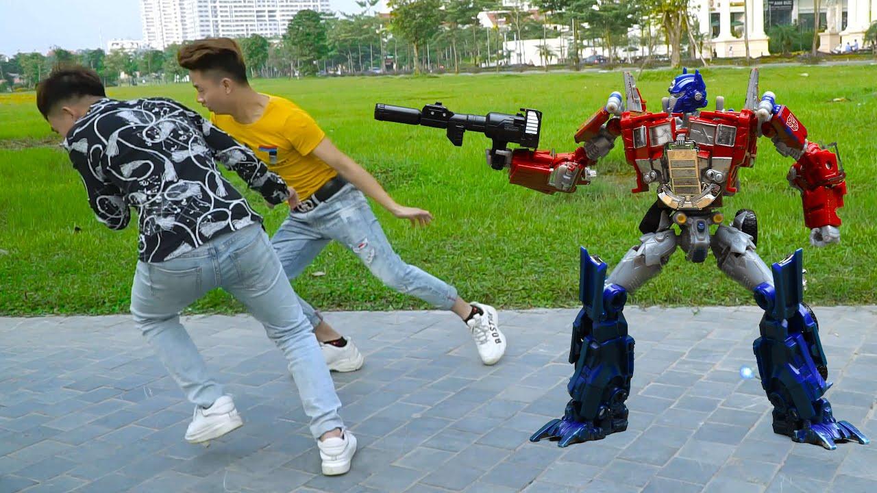Transformers Optimus Prime vs Megatron Stop motion! Decepticon, Autobots Robot in real life!