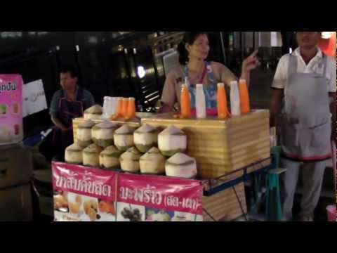 Bangkok Street Food by Night. Juices Stall, with Funny Spelling
