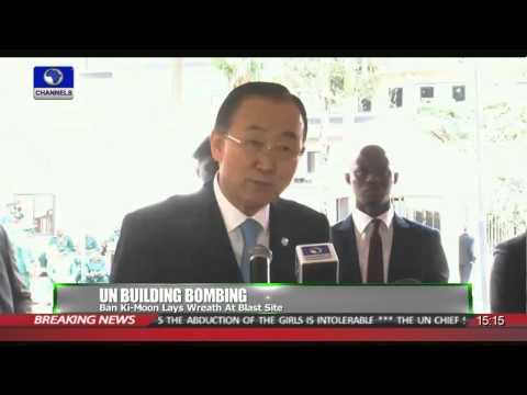 News Across: Nigeria Ban Ki Moon Lays Wreath At Blast Site