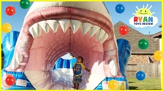 Giant Inflatable Water Slide Shark Ball Pits with Balloons Pop Challenge Surprise Toys Learn Colors