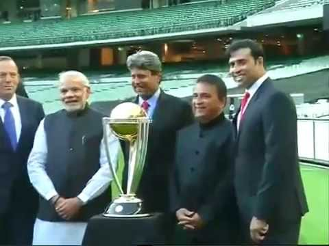 PM Modi & Australia PM Tony Abbott with Cricket World Cup Trophy at MCG, Melbourne