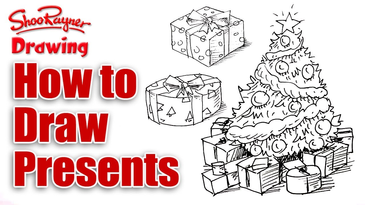 How to draw Christmas presents - YouTube