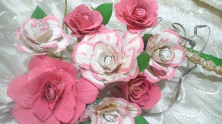 Flores hechas con hojas de maíz, rosas. DIY. Flowers made with corn leaves