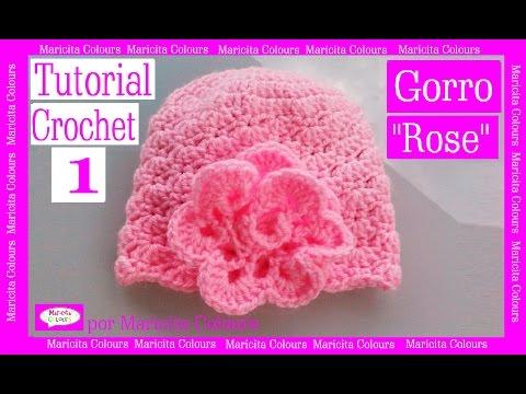 Crochet Tutorial Gorro Bebe Rose (Parte 1) por Maricita Colours