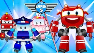 Baby Car lost in castle rescue by Super5 Squad Fire tuck & Police Car Cartoon
