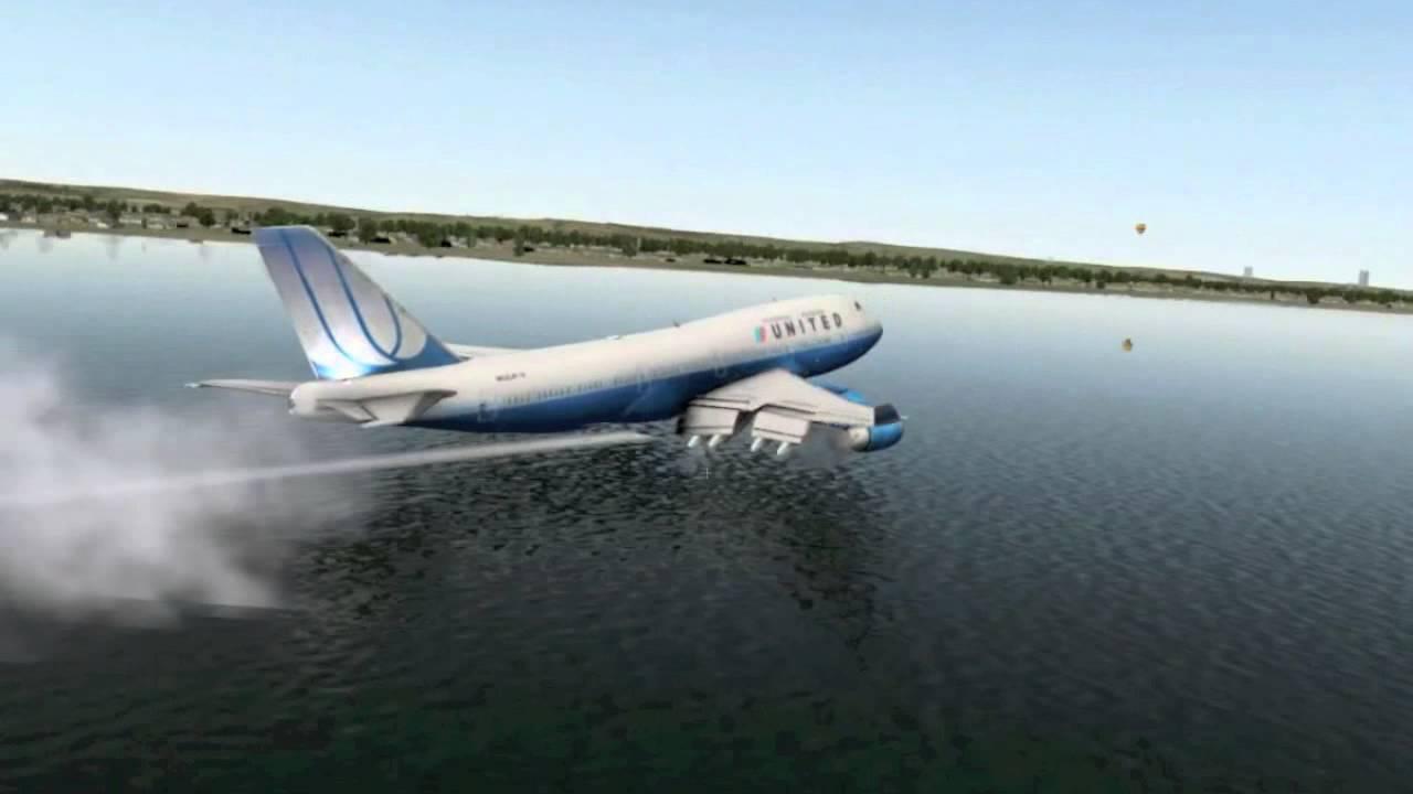 Airplane Landing on Water Boeing 747 Water Landing