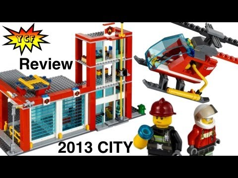 LEGO City 60004 Fire Station Review 2013 with 5 CITY minifigures
