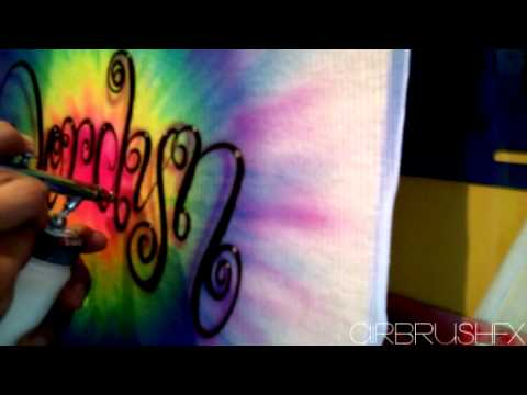 How to Airbrush Tie dye Swirly script lettering design with Peat V.