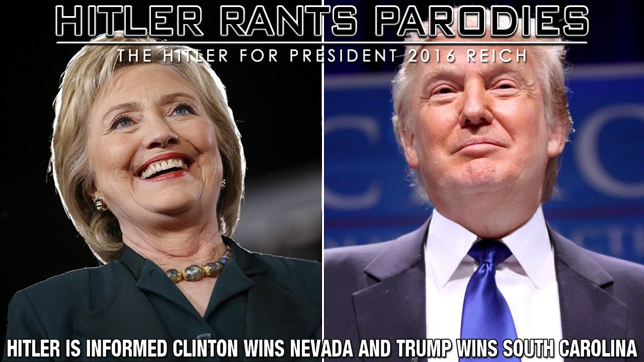Hitler is informed Clinton wins Nevada and Trump wins South Carolina