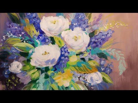 Impressionist Abstract Flowers Acrylic Painting Tutorial LIVE Beginner Step by Step Lesson