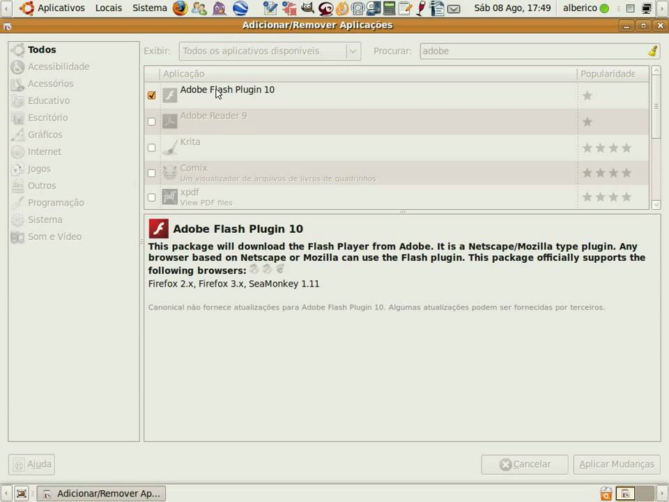Install Adobe Flash Plugin Ubuntu