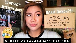 SHOPEE vs LAZADA MYSTERY BOX UNBOXING ( ANONG MAS LEGIT?) | STEPHANIE ANNE