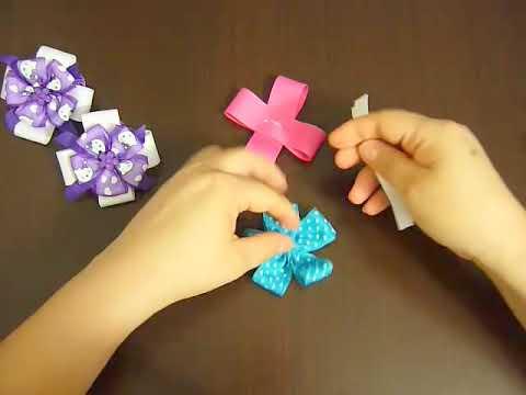 Tutoriales de accesorios en flores cinta gross y organza dobles No.033