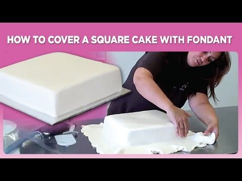 How To Design Cake Using Fondant : How to cover a square cake with fondant - YouTube