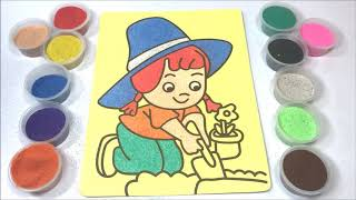 Đồ chơi trẻ em TÔ MÀU TRANH CÁT CÔ GÁI TRỒNG HOA - Colored sand painting toys (Thỏ Trắng)