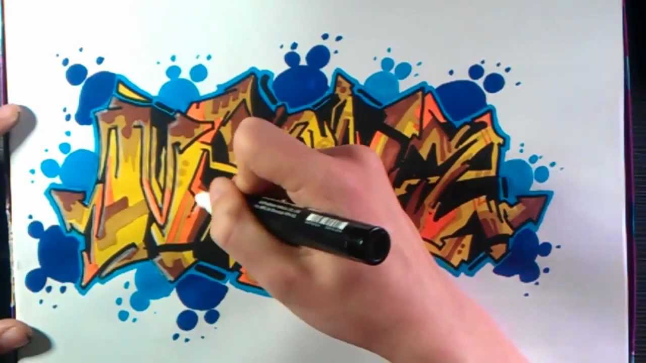 How To Draw Graffiti Brown And Blue On Paper Youtube