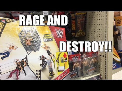 FAT WWE TOY COLLECTOR RAGES AND DESTROYS WWE CRASH CAGE PLAYSET! ACTION INSIDER REVIEW!