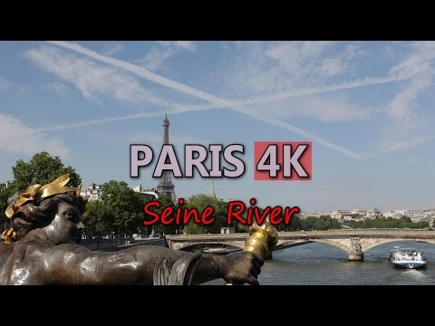 Ultra HD 4K Paris France Seine River Travel Sightseeing Tour Boat Ship Trip UHD Video Stock Footage