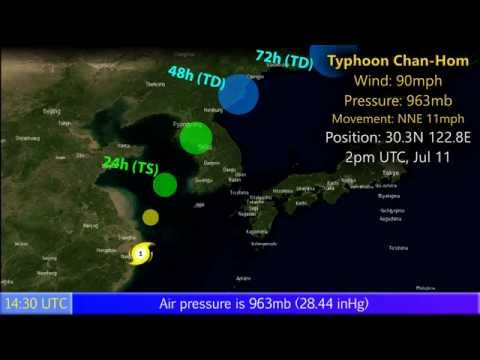 Typhoon Chan-Hom near the Chinese coast - Update 3 (07/12/15)
