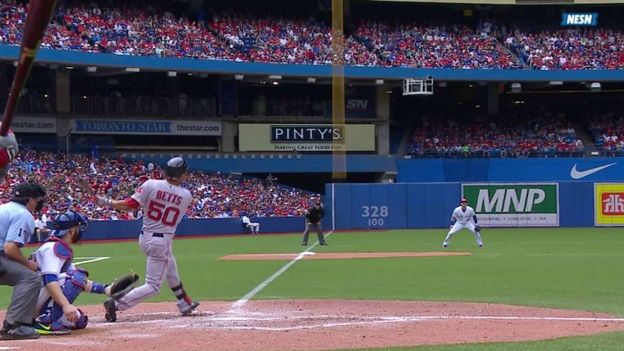 BOS@TOR: Betts hits a solo home run to left field