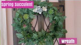 Dollar Tree | Walmart Spring Succulent Wreath DIY