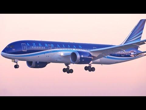Azerbaijan Airlines 'SUNSET LANDING' Boeing 787-8 Dreamliner at London Heathrow Airport Runway 09L
