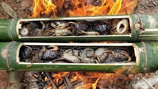 Cooking Field Crabs in Bamboo | Field Crab Boiling