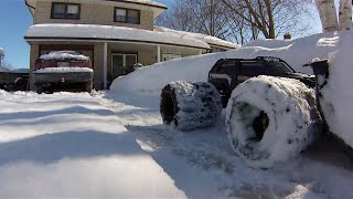 Traxxas Summit Chained 8 tire Dually Snow-plows my Driveway