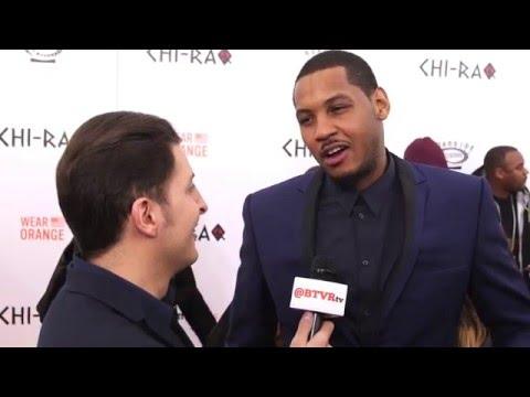 """Carmelo Anthony at the """"Chi-Raq"""" NY Premiere with Arthur Kade"""