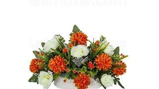 Arreglos florales artificiales. Jardinera cerámica rosas artificiales blancas y pom pom - La Llimona