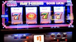 Triple Lucky 7 Slot Machine Live Play - $1 PER SPIN