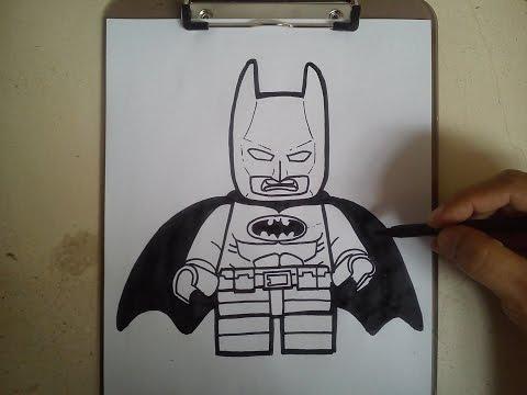 COMO DIBUJAR A BATMAN LEGO - LEGO MOVIE / how to draw batman lego - lego movie