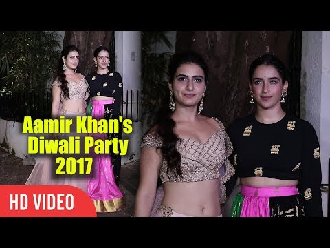 Two Gorgeous Dangal Girls Fatima Sana Shaikh And Sanya Malhotra At Aamir Khan's Diwali Party 2017 thumbnail