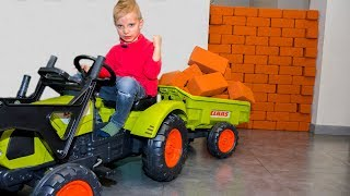 BABY ПОСТРОИЛ стену в доме!!! Unboxing And Assembling The POWER Wheel Ride on Tractor Buldozer!