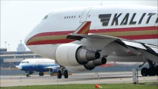 THIS IS WHY YOU SHOULD NEVER STAND BY A 747! Kalitta Air 747 Takeoff at Newark International Airport