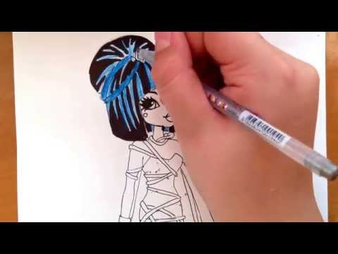 Видео как нарисовать Клео из Монстр Хай