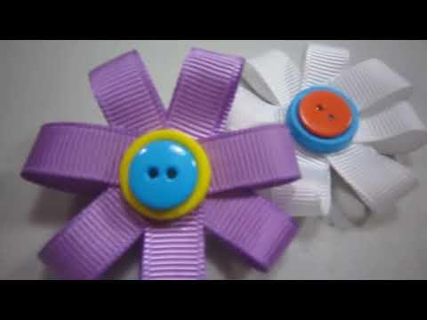 Episodio 519-Cómo hacer una flor de cinta de gro broche estilo 1