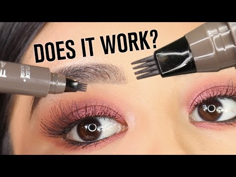 DIY 'MICROBLADING' EYEBROW MARKER PEN   DOES IT WORK?