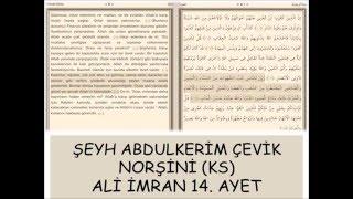 Şeyh Abdulkerim Çevik Norşini (ks) Ali İmran 14.  ayet tefsiri