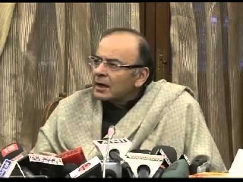 Finance Minister Arun Jaitley briefing media about GST Bill