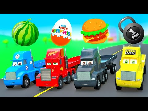 Amazing Stories with Little Cars Mcqueen, Mack Truck, Dinoco King, Cars Toys Compilation