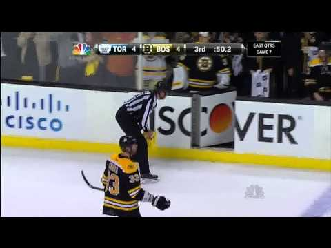 Patrice Bergeron goal 4-4, last min of reg. May 13 2013 Toronto Maple Leafs vs Boston Bruins NHL