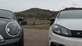 VW Golf R vs MINI Cooper S Coupe 0-60 MPH mile high Mashup Review