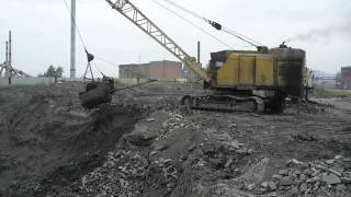 "Old russian cable excavator EO-5116-3 workin"" drag line"