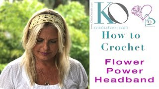 Download How to Crochet Flower Power Headband with Double Treble Clusters 3Gp Mp4